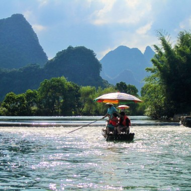 Rafting down the Yulong River in Yangshuo, China