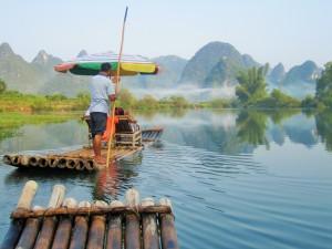 Rafting down the Yulong River in Yangshuo, China