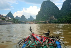 Boating down the Li River in Yangshuo, China