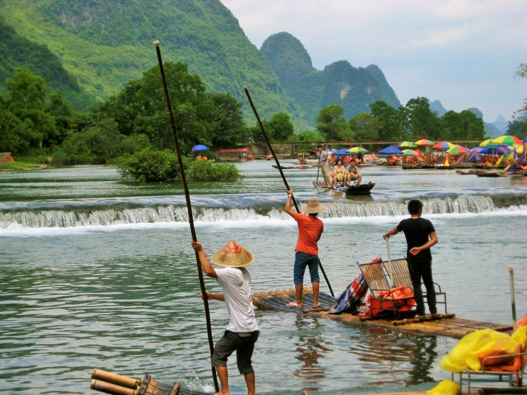 Man-powered rafts, boating down the Yulong River in Yangshuo River