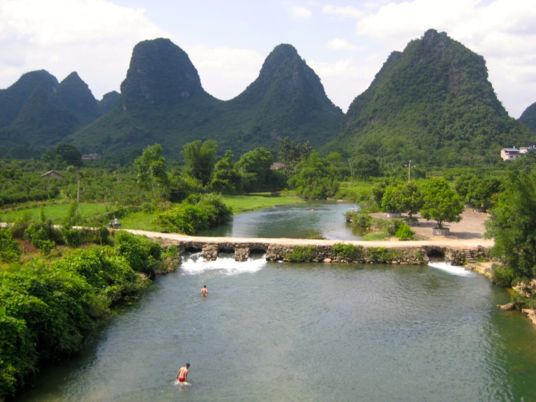Karst peaks and winding rivers in Yangshuo, China