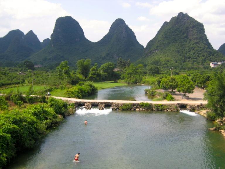Karst peaks and winding rivers in Yangshuo, China