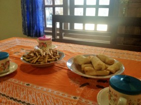 Tea and snacks in the woman's home