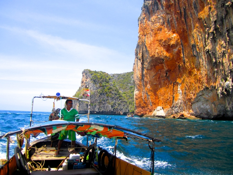 Limestone cliffs along the Andaman Sea in Ko Phi Phi, Krabi