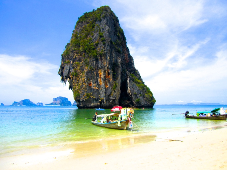 Limestone cliff on Railay beach in Southern Thailand