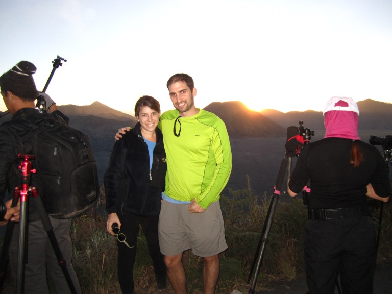 Watching sunset over the Tengger Caldera with fellow tourists
