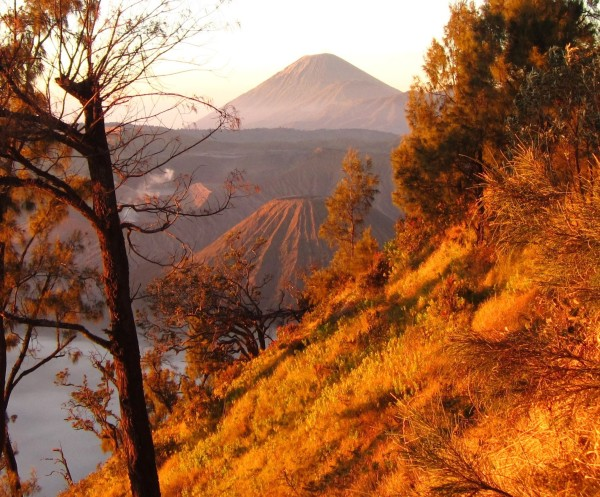 Watching the sunrise over the Tengger Caldera with Mt. Batok in the background