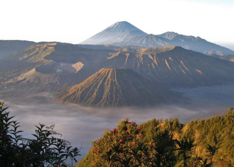 View of the Tengger Massif, a massive volcanic complex that sits on top of a caldera