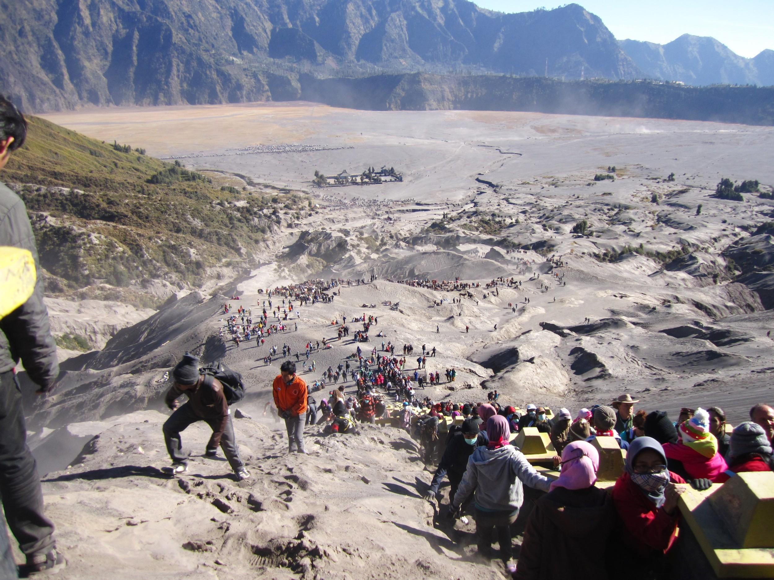 Hundreds of tourists climbing Mt. Bromo through The Tengger Sand Sea