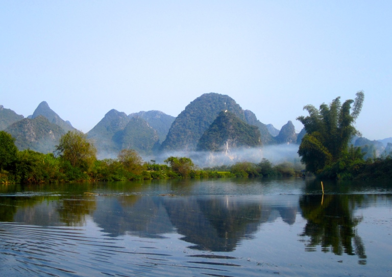 Landscape scene of Yangshuo, China along the Li River