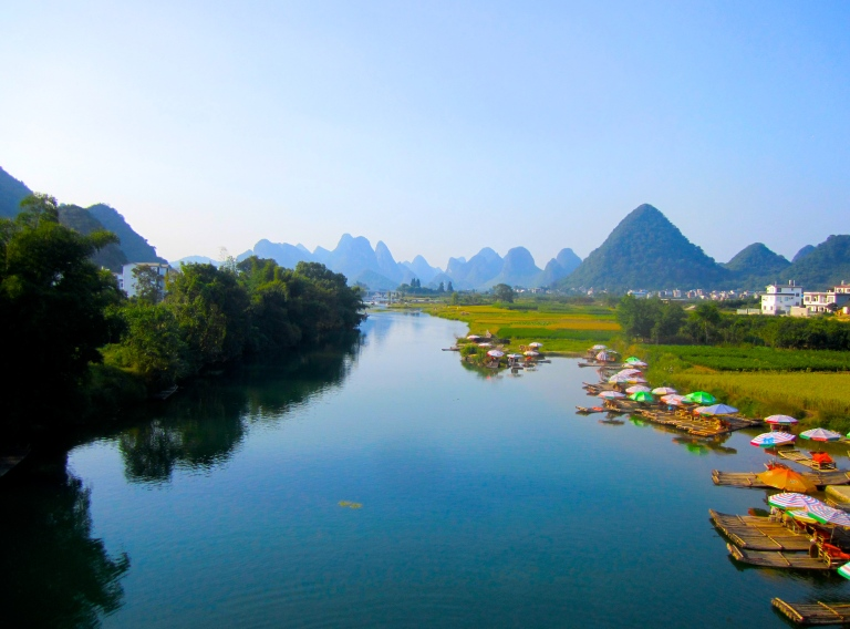 Landscape of Yangshuo China along the Yulong River