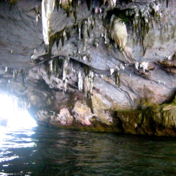 Stalagmites in a cave around Phang Nga Bay near Nakha Yai island