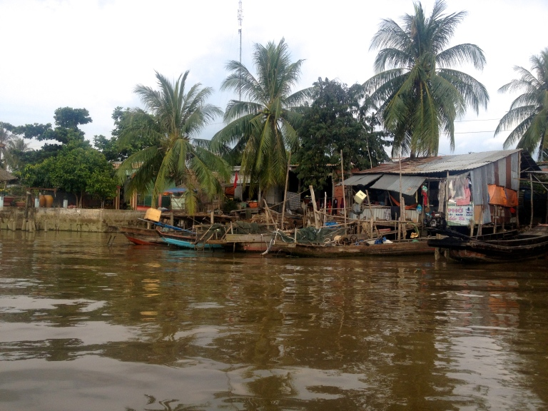 Homes along the Mekong Delta in South Vietnam