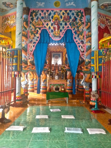 Inside the Cao Dai Temple in Tây Ninh, South Vietnam