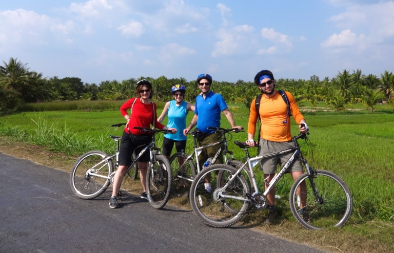 Biking among the rice paddies in Tra Vinh, South Vietnam