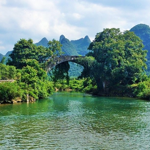 The beautiful Fuli Bridge in Yangshuo, China