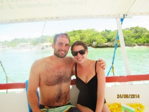 Boating along the beautiful turquoise waters in Lapu-Lapu City, Cebu, Philippines