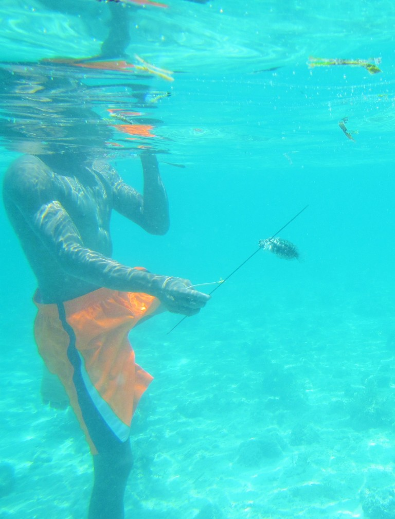 Our guide catching a fish while spearfishing off the coast of Cebu
