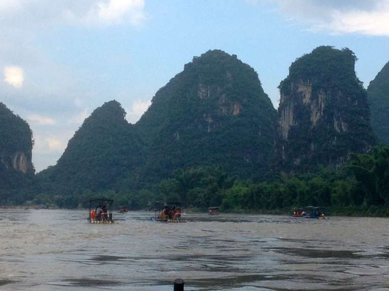 Boating along the karst peaks on the Li River in Yangshuo, China