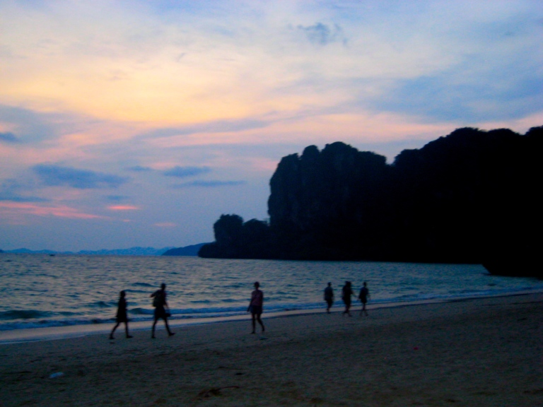 Railay beach on the west side of the peninsula at sunset