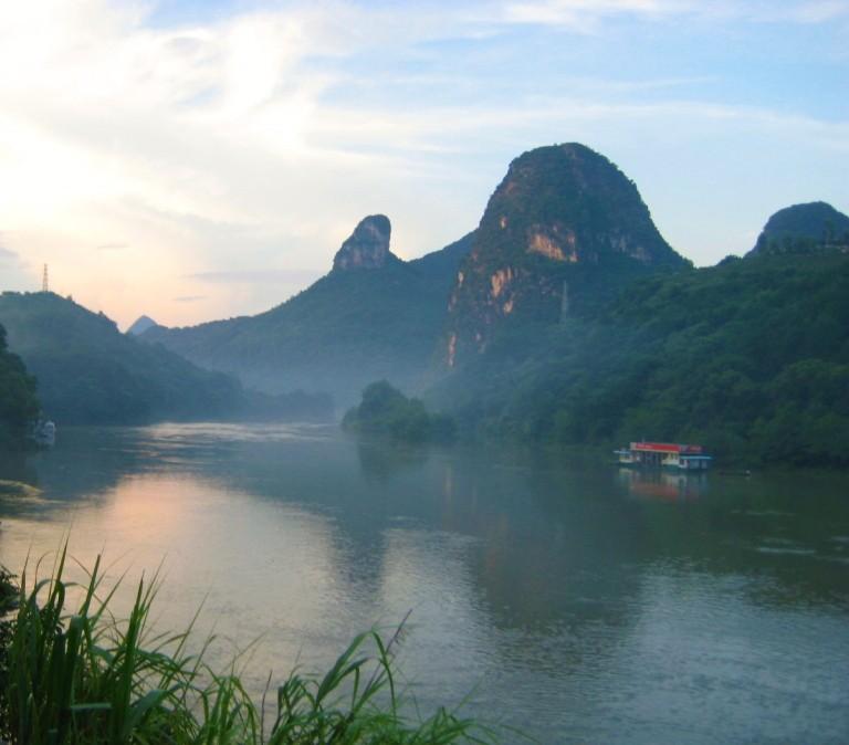 Karst peaks at sunset along the Li River in Yangshuo, China