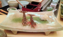 Live prawns presented to us from the chef before turning them into sushi