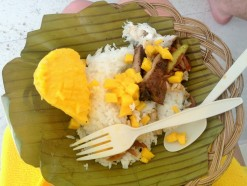 Enjoying our local filipino lunch: pork, rice, mangos and fresh fish