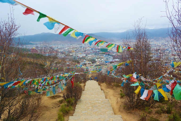 Tibetan prayer flags outside of the Baiji Temple in Shangri-La
