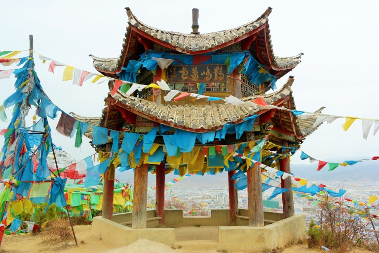 Outside the Baiji Temple in Shangri-La, also known as the 100 Chicken Temple
