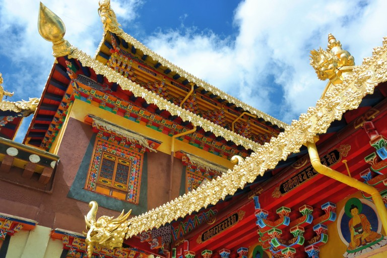 A close-up view of the  Songzanlin Monastery in Shangri-La, China