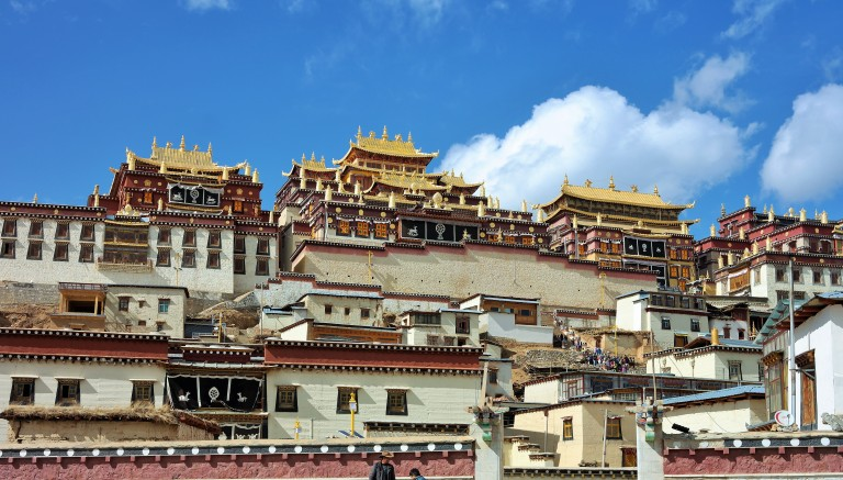 Outside view of the  Songzanlin Monastery, the largest Tibetan Buddhist monastery in Yunnan province