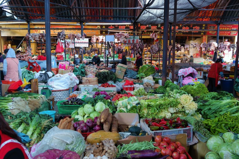An indoor vegetable market in Shangri-La, China