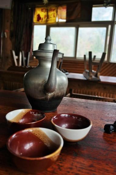 A traditional Tibetan tea pot used to serve Yak butter tea