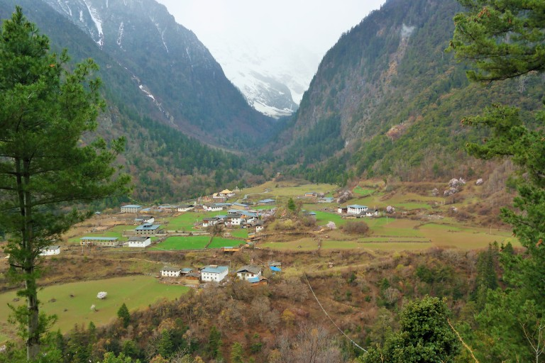 Landscape of Yubeng, a small village in the Meili Snow Mountain range, part of the Yunnan province in China