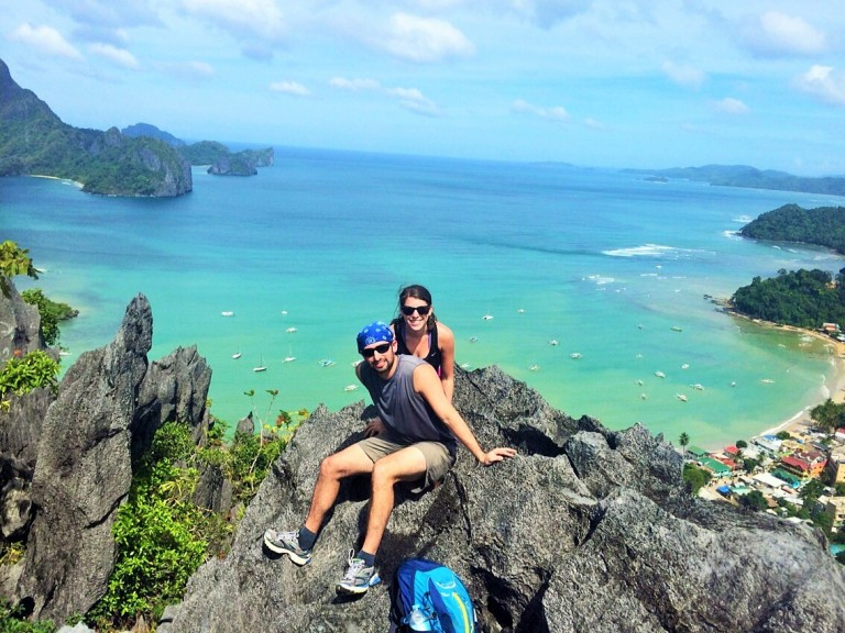 At the top of the  Taraw Cliff in El Nido, Palawan