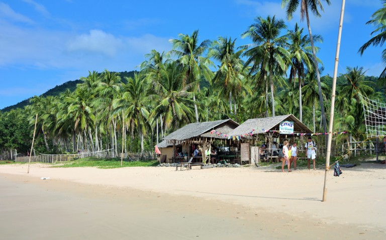 White sand and palm trees in Nacpan Beach in El Nido, Palawan