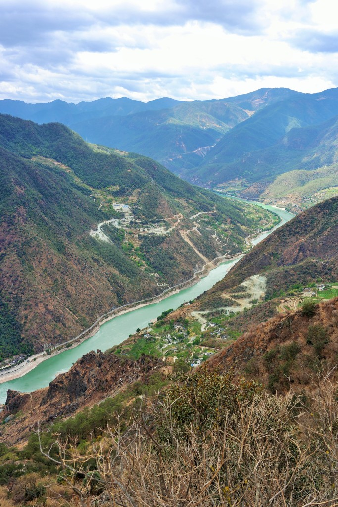 Aerial view of Tiger Leaping Gorge from the first hour of the hike