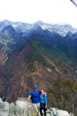 Near the peak of Tiger Leaping Gorge two hours into the trek