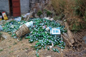 Hundreds of empty beer bottles near a halfway house in Tiger Leaping Gorge