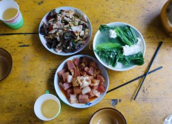 Our dinner in Tiger Leaping Gorge: tofu and spinach, bacon and mushroom & egg