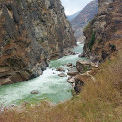 Close-up view of Tiger Leaping Gorge from the lower trail