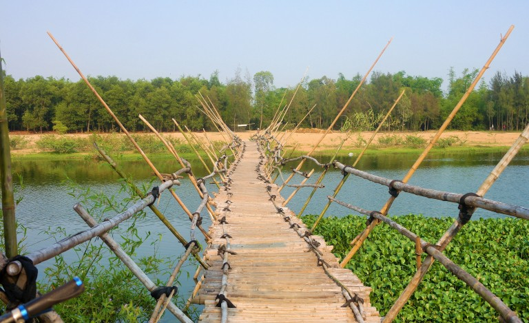 A newly built bamboo bridge  in Hoi An's countryside