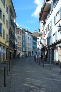 Charming houses along the narrow streets of Zurich's Old Town