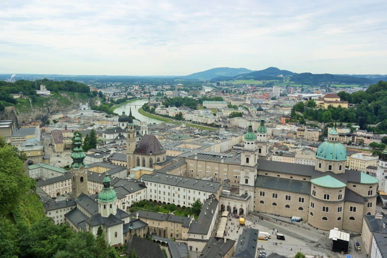 View of Old Town from the top of the Hohensalzburg Castle