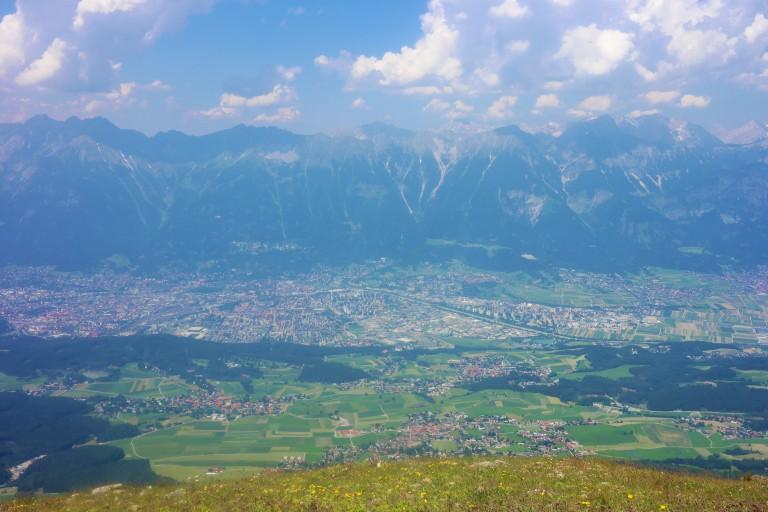 View of Innsbruck and the Alps from the top of the Patscherkofel cable car